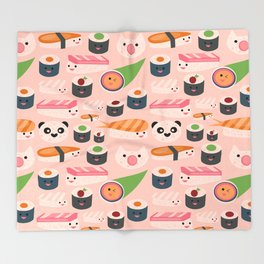Kawaii sushi light pink Throw Blanket