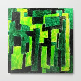 Three Green Puzzle Metal Print