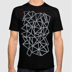 Abstract Outline Thick White on Grey MEDIUM Mens Fitted Tee Black