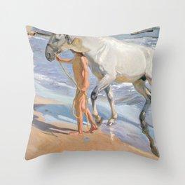 The Horse's Bath by Joaquin Sorolla Throw Pillow