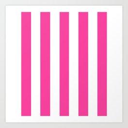Rose bonbon pink - solid color - white vertical lines pattern Art Print