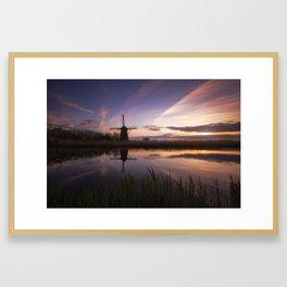 Kinderdijk sunset Framed Art Print