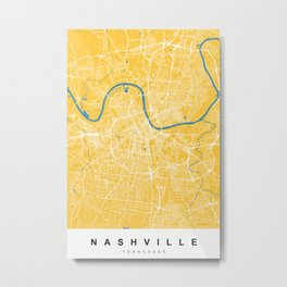 Nashville Map Tennessee | Yellow & Blue | More Colors, Review My Collections Metal Print