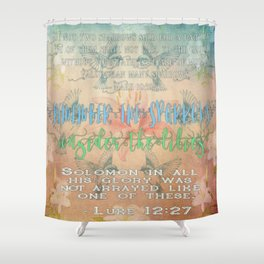 Sparrows & Lilies Shower Curtain