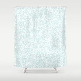 Tiny Spots - White and Light Cyan Shower Curtain