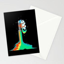 Flying Chubby Unicorn - Rainbow Jetpack Stationery Cards