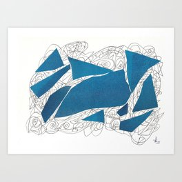 Blue Collage doodle Art Print