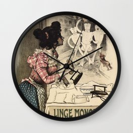 Vintage French linen advertising Wall Clock