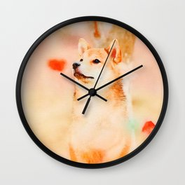 Shiba inu watercolor #1 Wall Clock