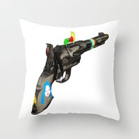 hippy Throw Pillows featuring HIPPY GUN by kasi minami