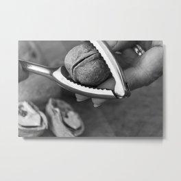 Cracking walnuts - Old film - Black & White Metal Print