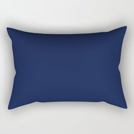 Navy Blue Minimalist Solid Color Block Rectangular Pillow