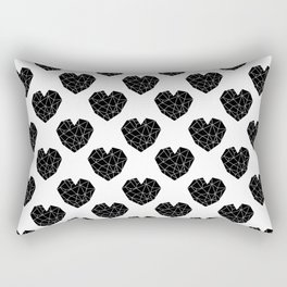 Hearts black and white geometric minimal abstract valentines day gift for gender neutral him or her  Rectangular Pillow