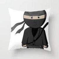 ninja Throw Pillows featuring Ninja by Shyam13