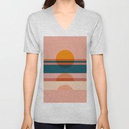Abstraction_SUNSET_HORIZON_ART_MInimalism_100A Unisex V-Neck
