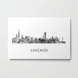 Chicago, Illinois Skyline WB BW Metal Print
