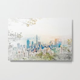 modern city skyline aerial view under sunrise and blue sky in Hong Kong, China Metal Print