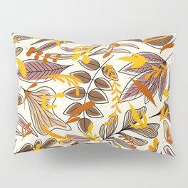 Modern Brown Fall Leaves Illustration Pattern Pillow Sham