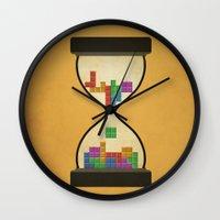 tetris Wall Clocks featuring tetris by gazonula