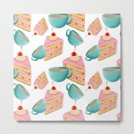 Tea and cakes seamless pattern digital illustration  Metal Print