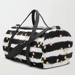 Modern black watercolor stripes chic gold confetti Duffle Bag