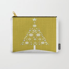 Christmas Tree Of Snowflakes and Stars On Mustard Background Carry-All Pouch