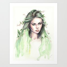 """Terra"" Earth spirit Watercolour portrait Art Print"