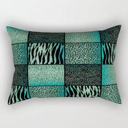 Teal and Black Exotic Animal Patterns Rectangular Pillow