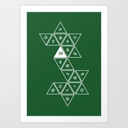 Green Unrolled D20 Art Print