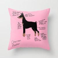 doberman Throw Pillows featuring Doberman by Lindsay Beth