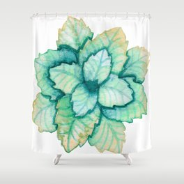 Turquoise and Gold Leaves Shower Curtain