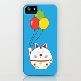 Fat Cat with Balloons iPhone Case