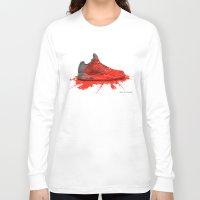 air jordan Long Sleeve T-shirts featuring  2016 Air Jordan Retro (crimson red) by artbyinfernix