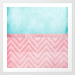 pink and turquoise chevron Art Print