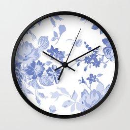 Blue Flower Pattern Throw Pillow Cover Wall Clock