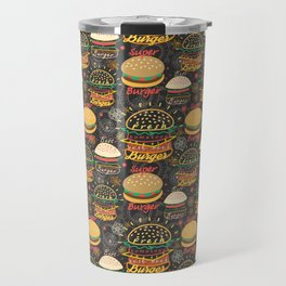 Graphic seamless pattern bright tasty burgers on a dark background Travel Mug