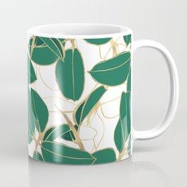 Elegant Green Gold Rubber Plant Foliage White design Coffee Mug