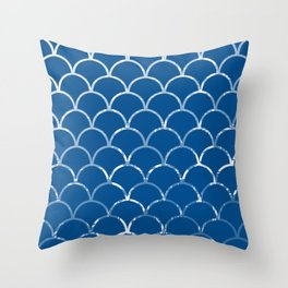 Textured large scallop pattern in snorkel blue Throw Pillow