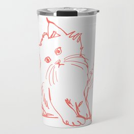 Katzen 001 / Minimal Line Drawing Of Two Cats Travel Mug