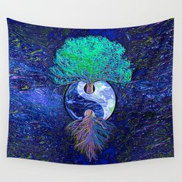 Tree of Life Yin Yang Earth Space Wall Tapestry
