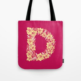 Floral Type - Letter D - Ruby Tote Bag
