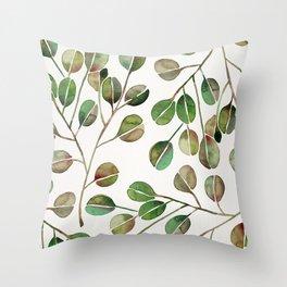 Silver Dollar Eucalyptus – Green Palette Throw Pillow