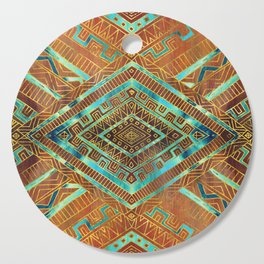 Tribal  Ethnic Boho Pattern burnt orange and gold Cutting Board