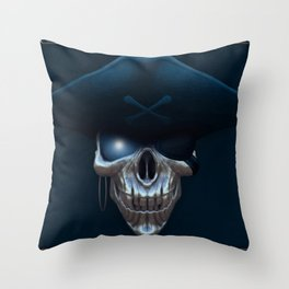 Pirate skull with glowing blue eyes Throw Pillow
