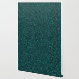 Deep Teal Tooled Leather Wallpaper