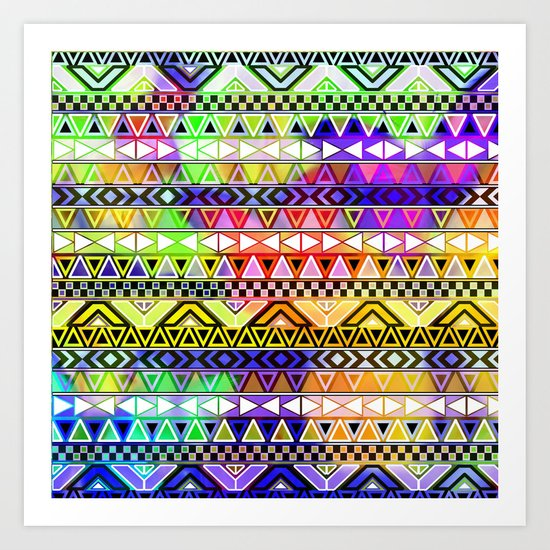 Blue Yellow Bright Andes Abstract Aztec Pattern Art Print
