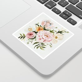 Loose Peonies & Poppies Floral Bouquet Sticker