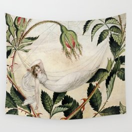 """""""A Fairy Resting in a Hammock"""" by Amelia Jane Murray Wall Tapestry"""