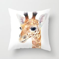 Baby Giraffe Cute Animal Watercolor Throw Pillow