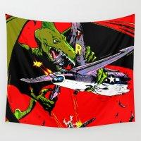 kaiju Wall Tapestries featuring Kaiju Attack by sasha alexandre keen